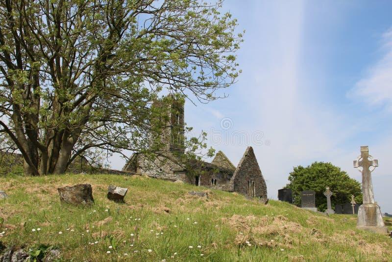 Keltisches Kreuz auf dem grünen Feld in Cork Ireland lizenzfreie stockbilder