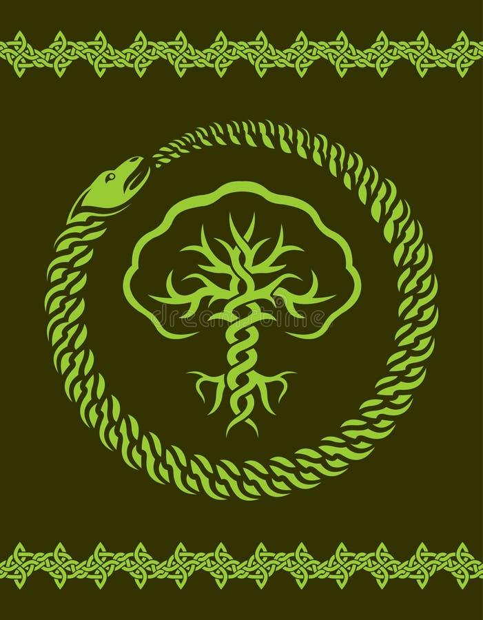 Keltisches Muster mit Baum und Schlange lizenzfreie abbildung