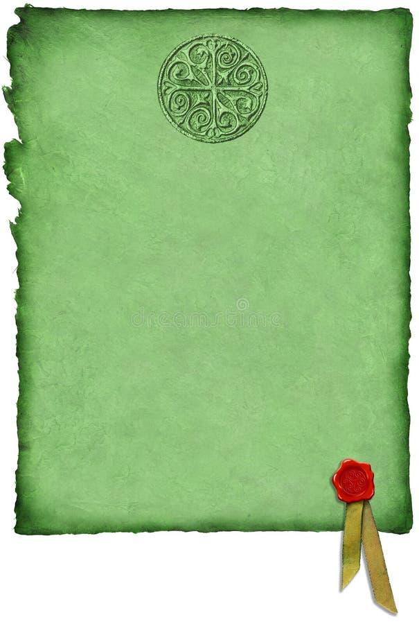 Keltisches Pergament mit Wachs-Dichtung lizenzfreie abbildung