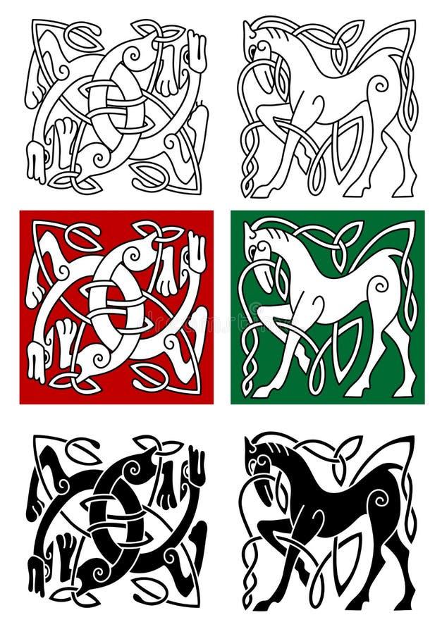 Keltisches Pferd und abstraktes Monster vektor abbildung