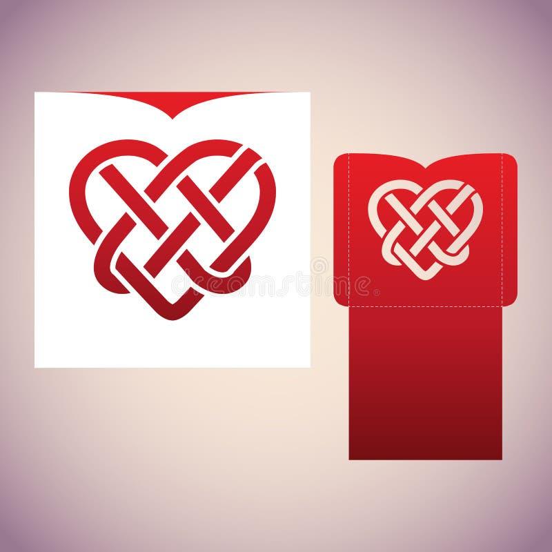 Keltisk fnuren i form av hjärta Bitande mall för laser royaltyfri illustrationer