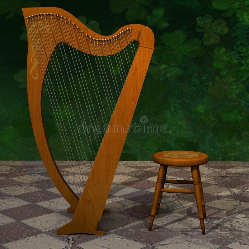 Keltisk harpa för St Patrick Day royaltyfri foto
