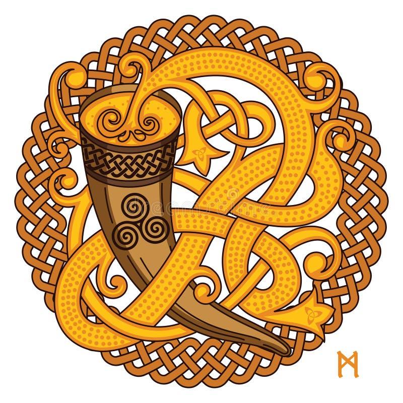 Keltisk skandinavisk design Dricka hornet med mjödet och den vävde modellen vektor illustrationer