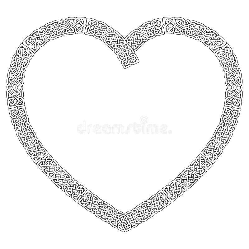 Keltisk stil knöt hjärta i vit med den svarta slaglängden med evighetfnurenmodellen som inspirerades vid dag för irländareSt Patr royaltyfri illustrationer