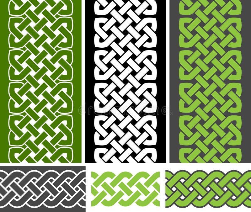 3 keltisk stil knöt sömlösa gränser och 3 flätar sömlösa gränsvariationer, vektorillustration stock illustrationer