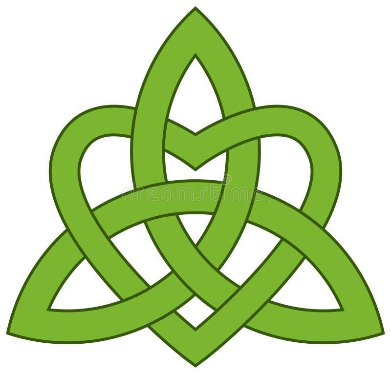 Keltisk Treenighetfnuren med en hjärta stock illustrationer