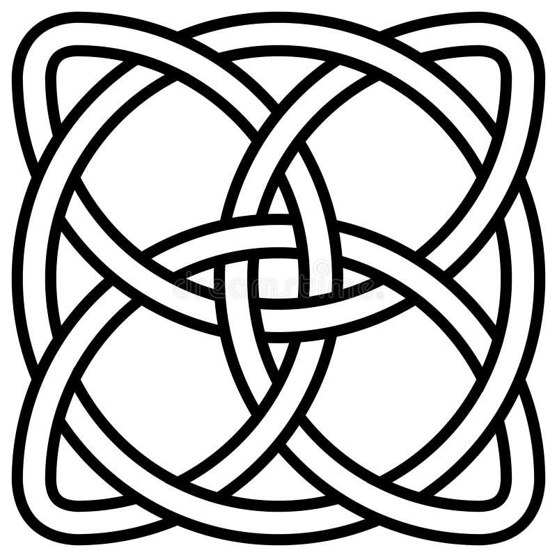 Keltisk treklöverfnuren i cirkelsymbolet Irland, vektorsymbolsymbol av oändligheten, livslängden och hälsa royaltyfri illustrationer