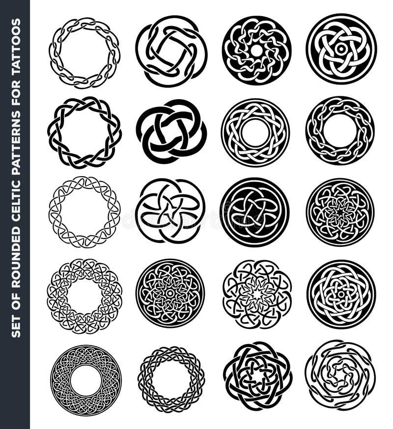 Keltiska cirklar och cirklar för tatueringdesign vektor illustrationer