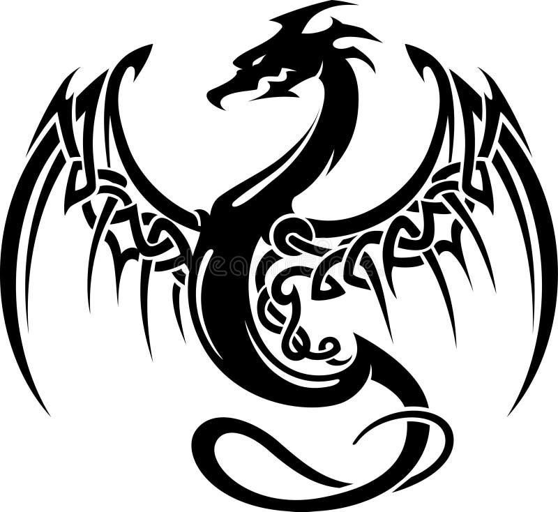 Keltiska Dragon Wings Tattoo stock illustrationer