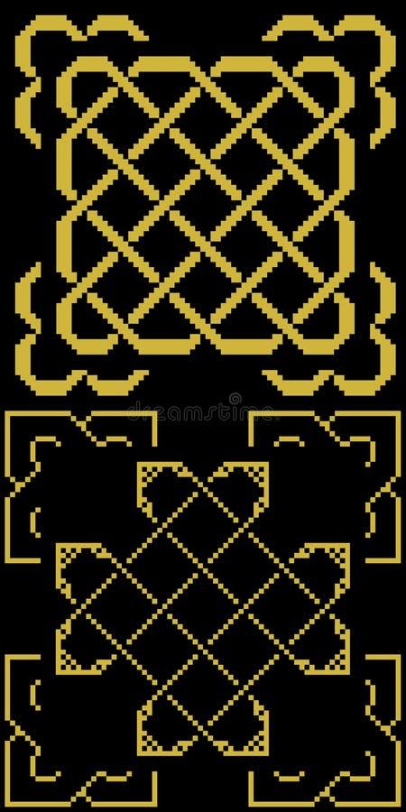 Keltiska fnuren med gammal guld för gränser på svart stock illustrationer