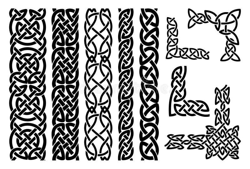 Keltiska modeller och celtic prydnadhörn royaltyfri illustrationer