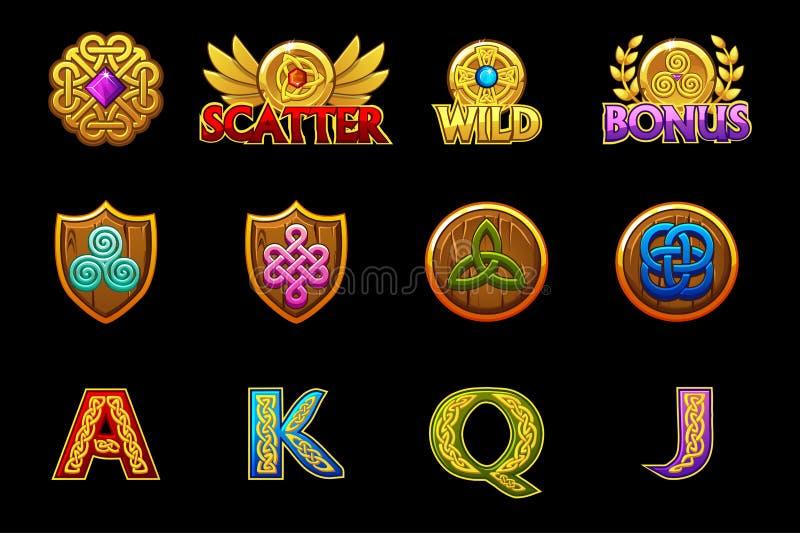 Keltiska symboler för kasinomaskinspringor spelar med celtic symboler Vektorspringasymboler p? separata lager royaltyfri illustrationer