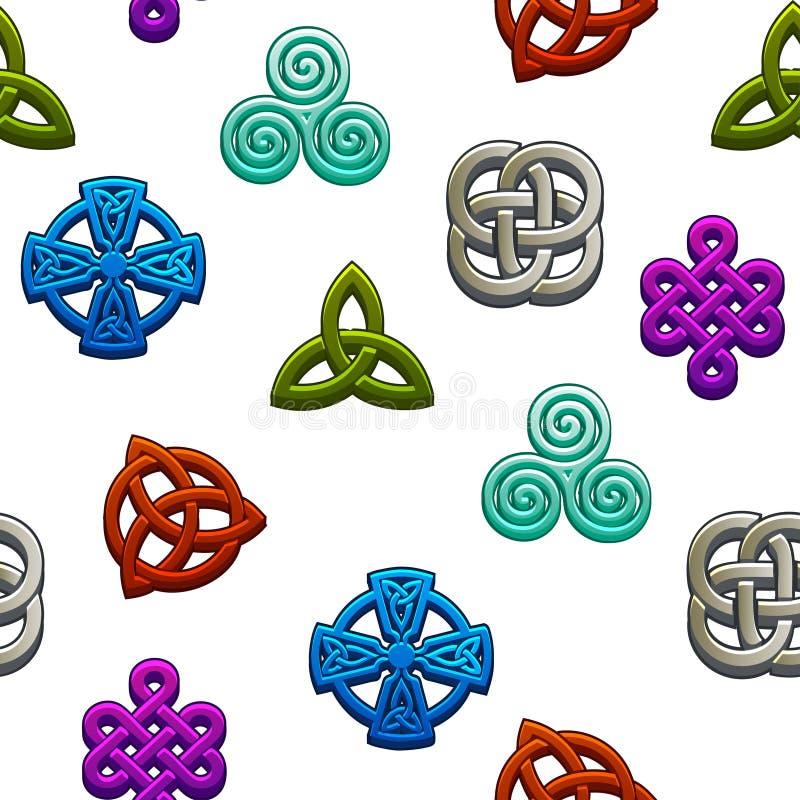 Keltiska symboler för sömlös modell Fastställda celtic symboler på vit bakgrund stock illustrationer