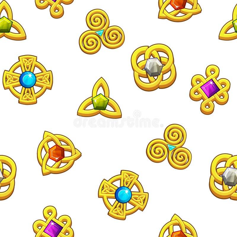 Keltiska symboler för sömlös modell Guld- celtic symboler med olika ädelstenar stock illustrationer