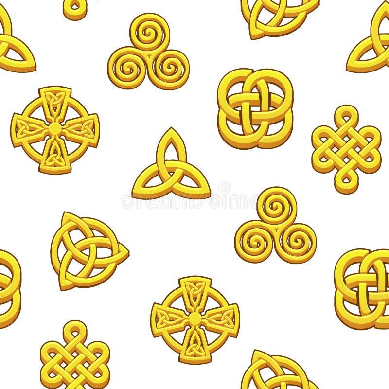 Keltiska symboler för sömlös modell Guld- celtic symboler på vit bakgrund vektor illustrationer