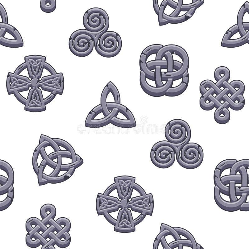 Keltiska symboler för sömlös modell Tecknade filmen ställde in celtic symboler på vit bakgrund stock illustrationer