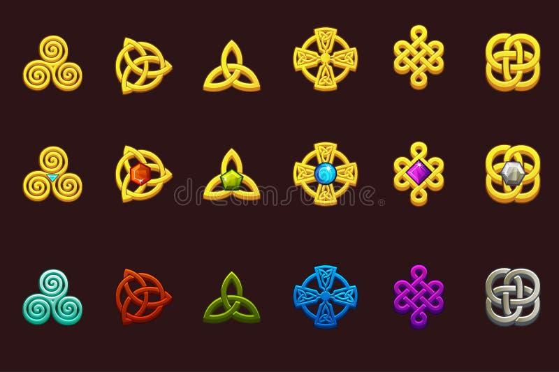 Keltiska symboler i olik variation Tecknade filmen ställde in celtic symboler royaltyfri illustrationer