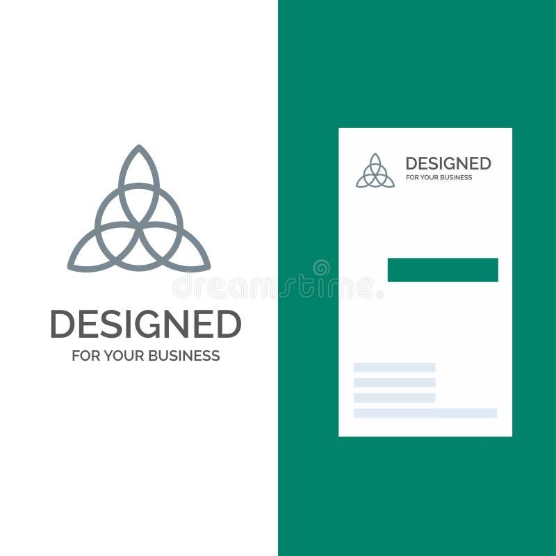 Keltiskt, Irland, blomma Grey Logo Design och mall för affärskort vektor illustrationer