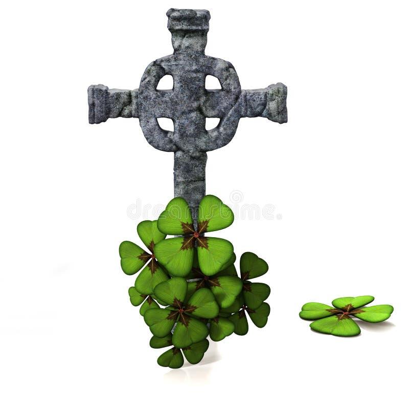 Keltiskt kors och växt av släktet Trifolium vektor illustrationer