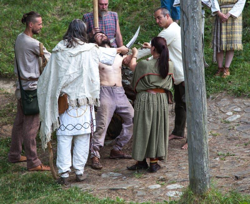Keltiskt rituellt mord arkivbild