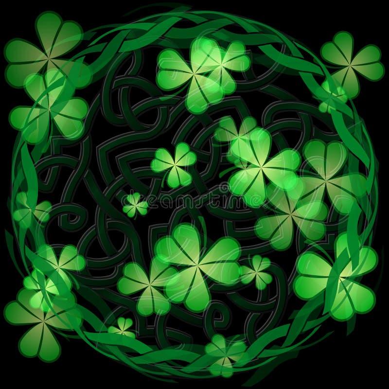 Keltiskt treklövertema stock illustrationer
