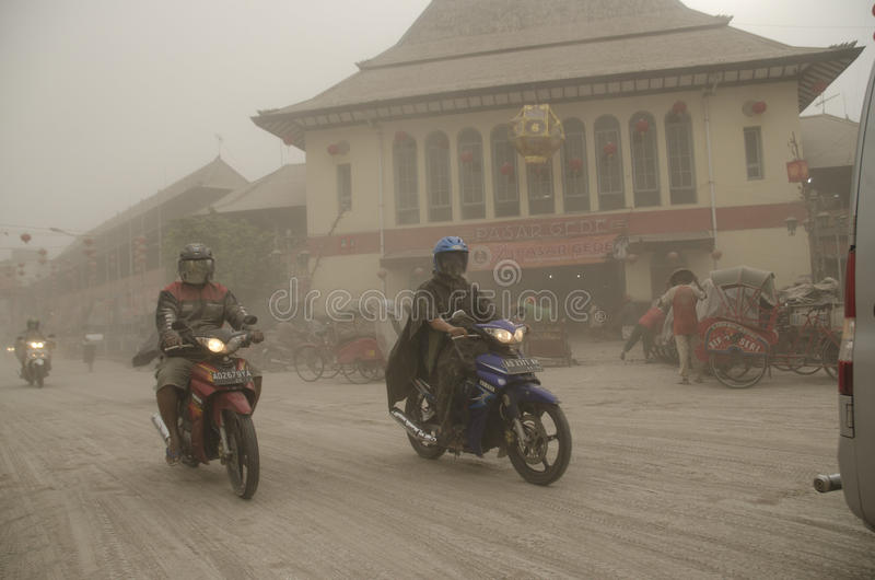 THE KELUD ERUPTION EFFECT royalty free stock photography