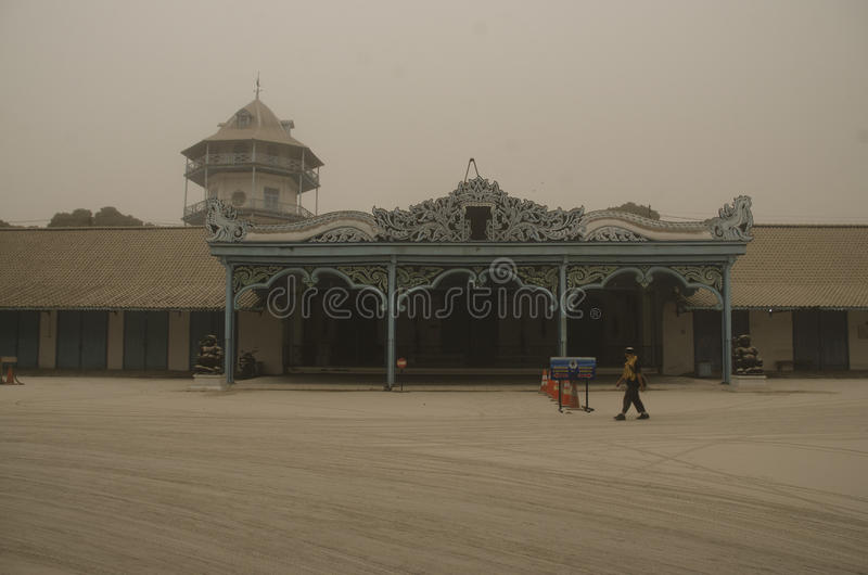 THE KELUD ERUPTION EFFECT. The Royal Palace of Surakarta which was covered by ash fall from nearby Kelud Volcano. Kelud erupted on February 13, 2014.The eruption royalty free stock images