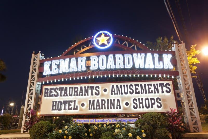 Kemah Boardwalk Entrance at night. KEMAH, TX - APR 14: Kemah Boardwalk entrance sign illuminated at night. April 14, 2016 in Kemah, Texas, United States stock image