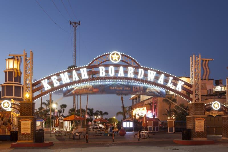 Kemah Boardwalk wejście przy nocą zdjęcia royalty free