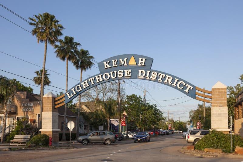 Kemah Lighthouse District, Texas. KEMAH, TX, USA - APR 14, 2016: Kemah Lighthouse District entrance sign. The Lighthouse District is the town center with many stock image
