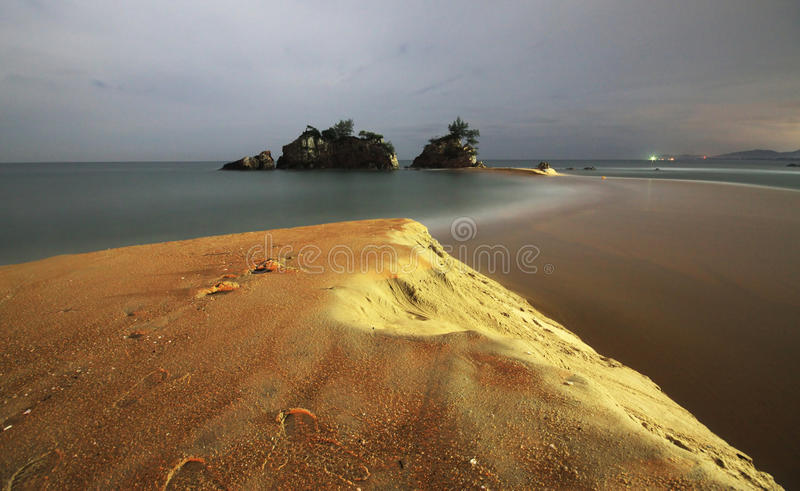 Kemasik beach night shot. Kemasik beach at Kemaman, Terengganu, Malaysia royalty free stock photo