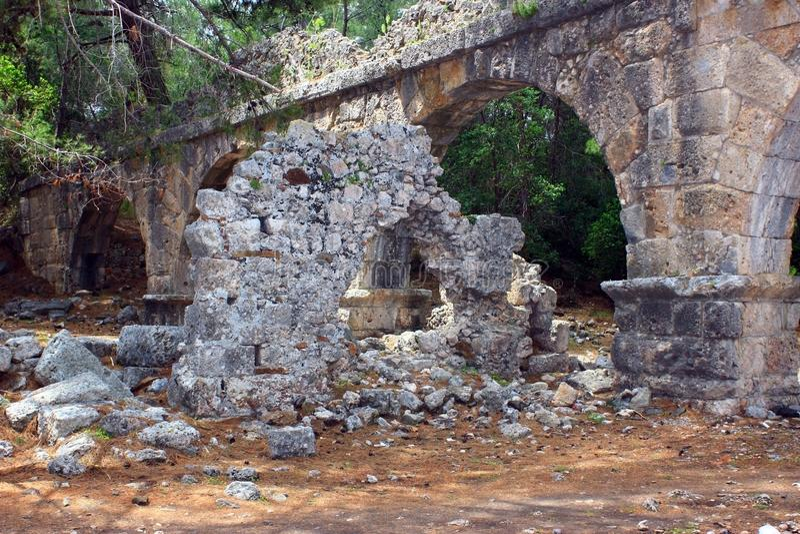 Kemer, Turcja, Maj 2017 Ruiny antyczny miasto Phaselis obraz royalty free