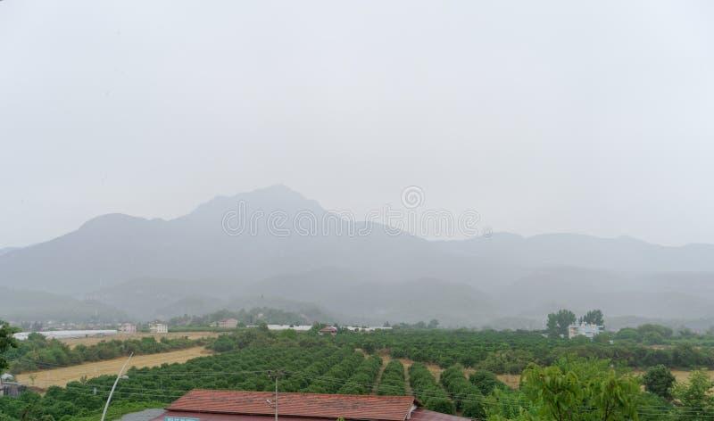 Kemer, Turkey. - July 17.2019. Mount Tahtal in Kemer in a light haze. royalty free stock photo