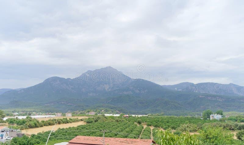 Kemer, Turkey. - July 17.2019. Mount Tahtal in Kemer in a light haze. royalty free stock photography
