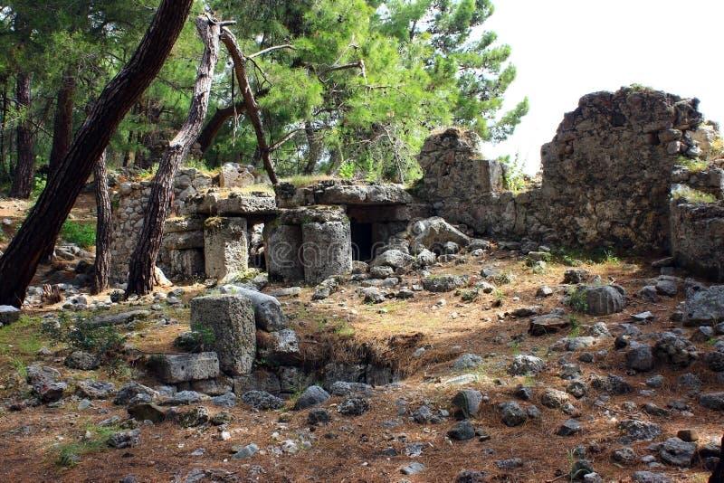 Kemer, Turkije, Mei 2017 Ruïnes van de oude stad van Phaselis stock foto
