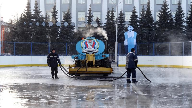Kemerovo city. Ice skating rink royalty free stock photo