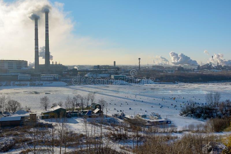 Kemerovo, pesca del hielo imágenes de archivo libres de regalías