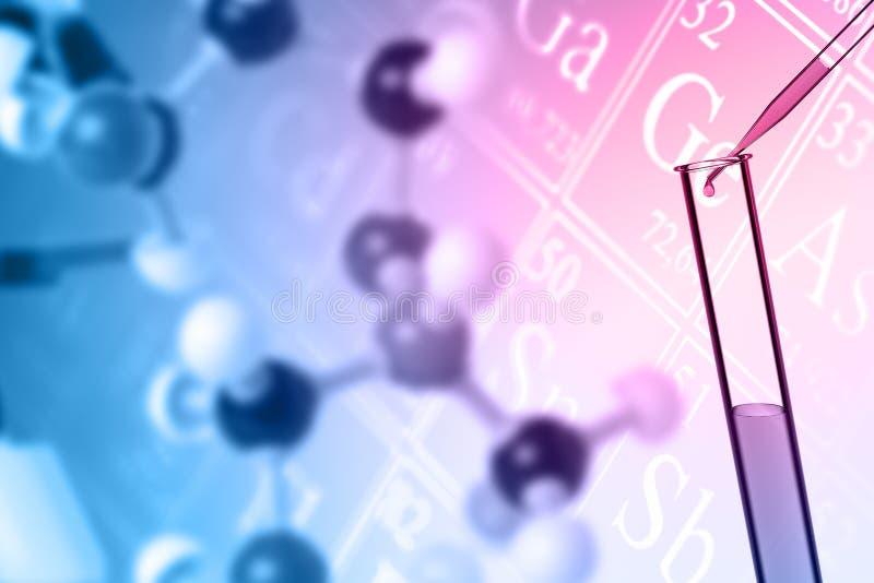 Kemi- eller vetenskapsbakgrundsbegrepp med molekylen, provrör vektor illustrationer