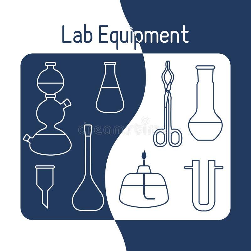 Kemi för vetenskap för labbutrustning, biologi, medicin stock illustrationer