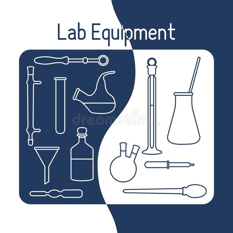 Kemi för vetenskap för labbutrustning, biologi, medicin royaltyfri illustrationer