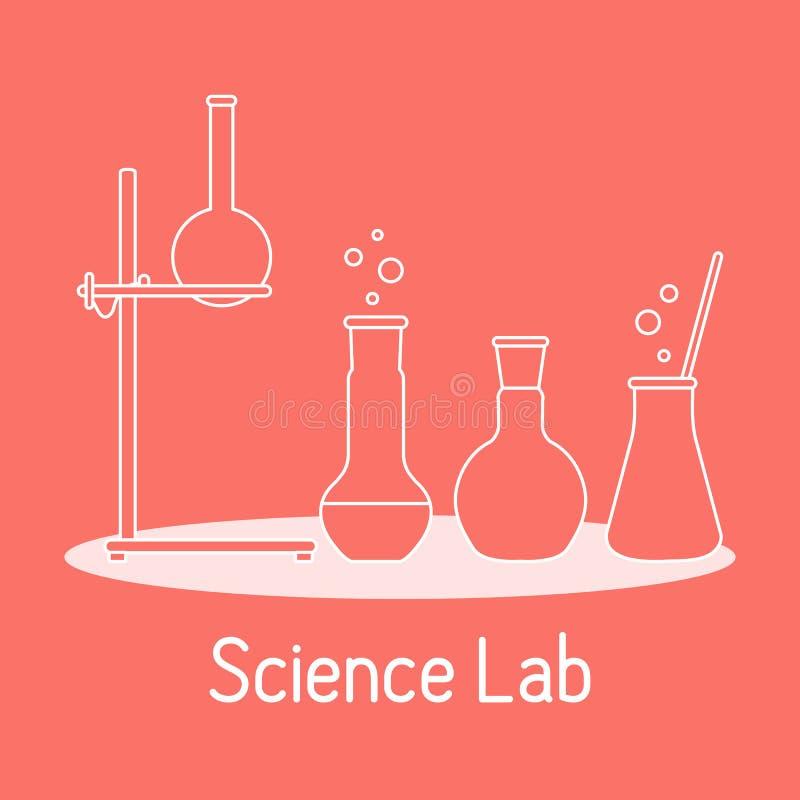 Kemi f?r vetenskap f?r labbutrustning, biologi, medicin vektor illustrationer