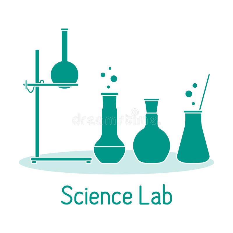 Kemi f?r vetenskap f?r labbutrustning, biologi, medicin royaltyfri illustrationer