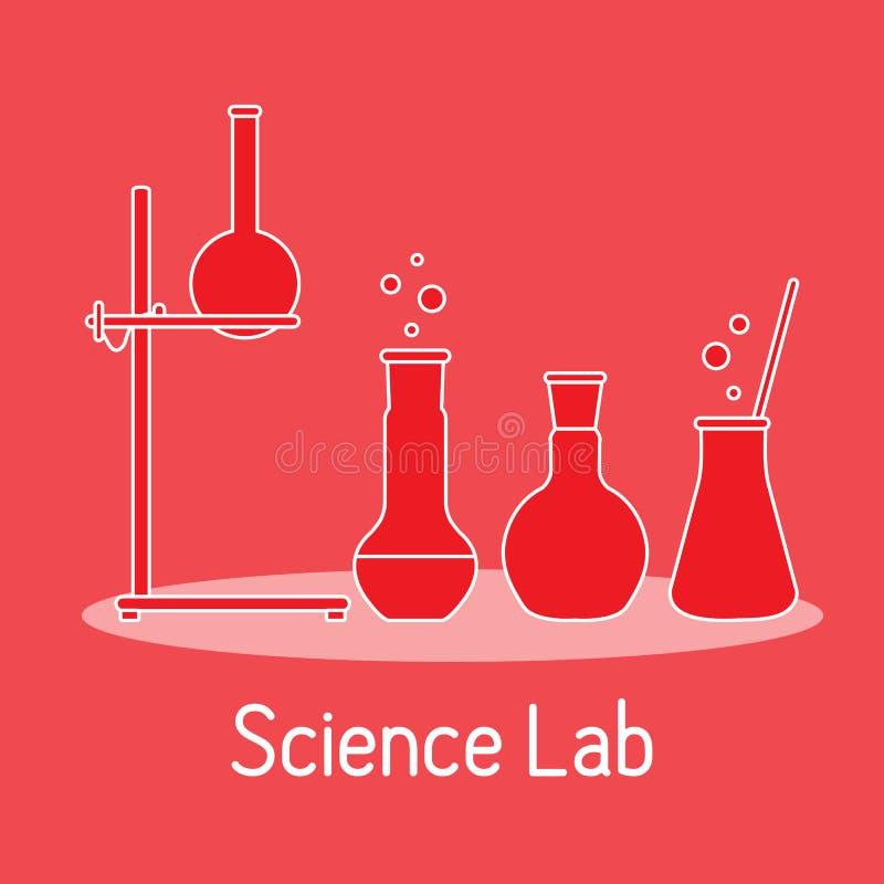 Kemi f?r vetenskap f?r labbutrustning, biologi, medicin stock illustrationer