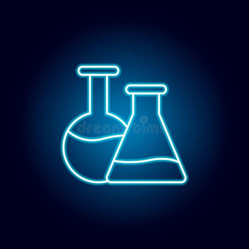 kemi flaskor skisserar symbolen i neonstil beståndsdelar av utbildningsillustrationlinjen symbol tecknet symboler kan användas fö vektor illustrationer
