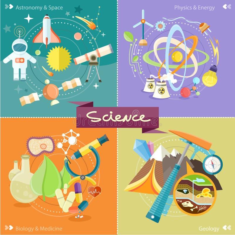 Kemi fysik, biologi stock illustrationer
