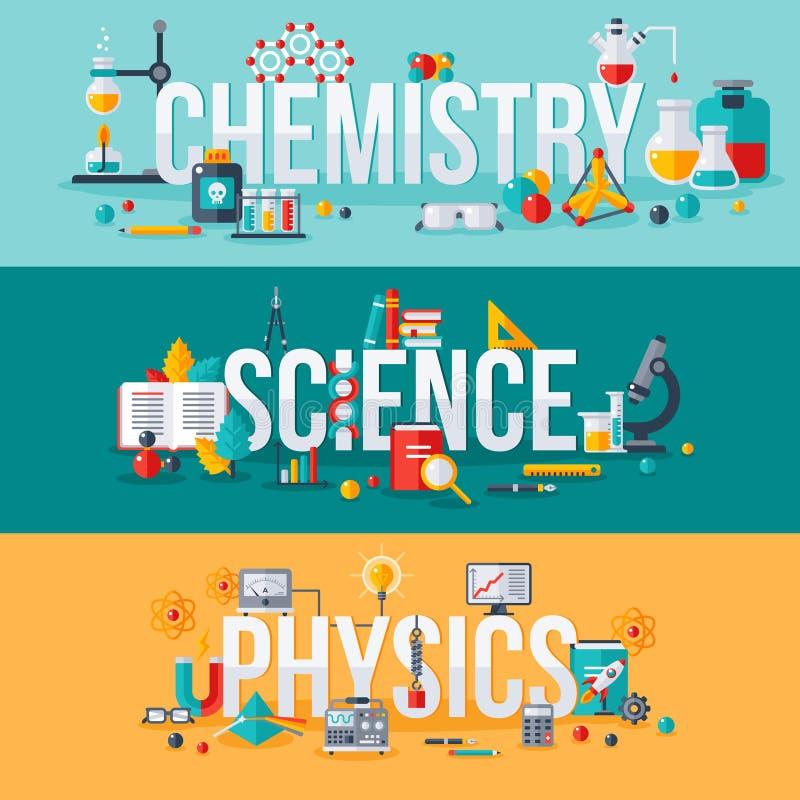 Kemi vetenskap, fysikord stock illustrationer