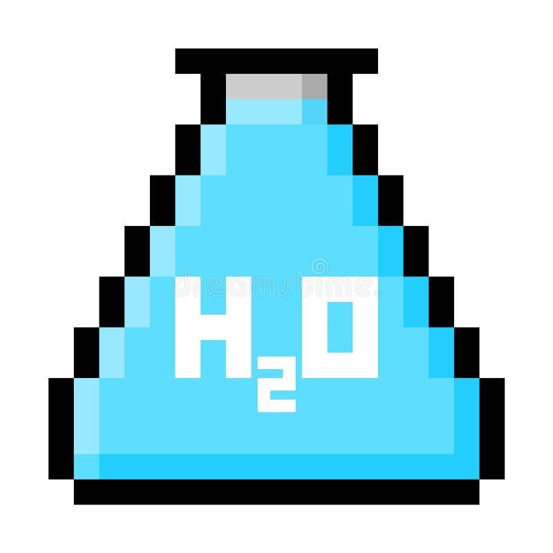 Kemiflaskan fyllde med vatten i stora PIXEL stock illustrationer