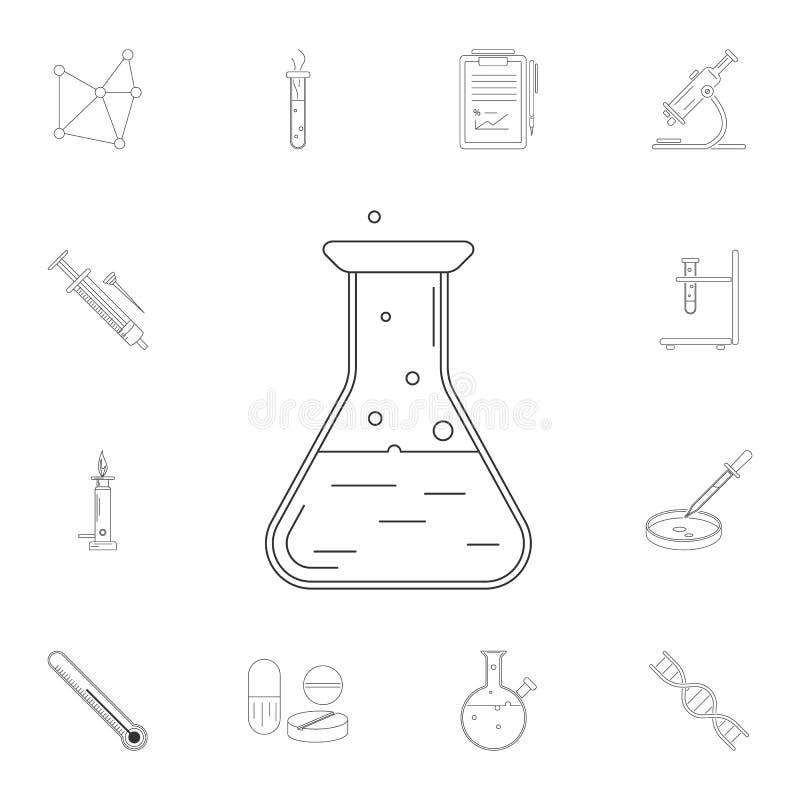 kemiflaskasymbol Detaljerad uppsättning av vetenskaps- och labbillustrationer Högvärdig kvalitets- symbol för grafisk design En a vektor illustrationer