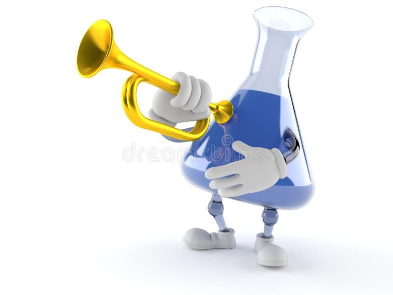 Kemiflaskatecken som spelar trumpeten vektor illustrationer