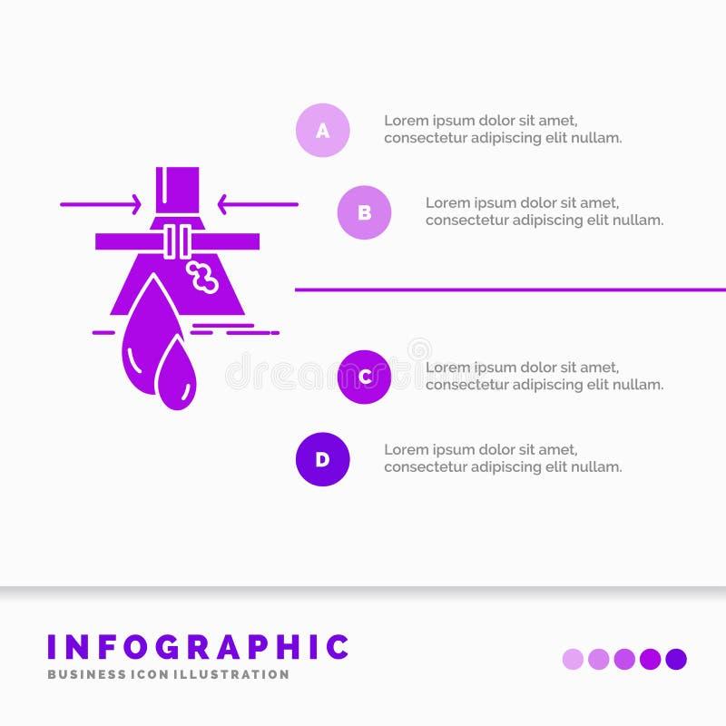 Kemikalie, läcka, upptäckt, fabrik, föroreningInfographics mall för Website och presentation Infographic sk?ralilasymbol stock illustrationer